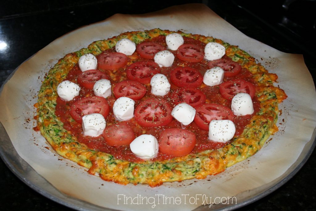 Zucchini Crust Low Carb Pizza-add mozzarella