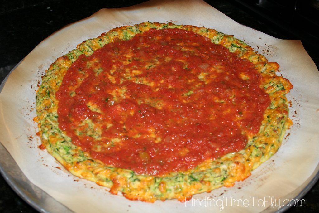 Zucchini Crust Low Carb Pizza-add sauce