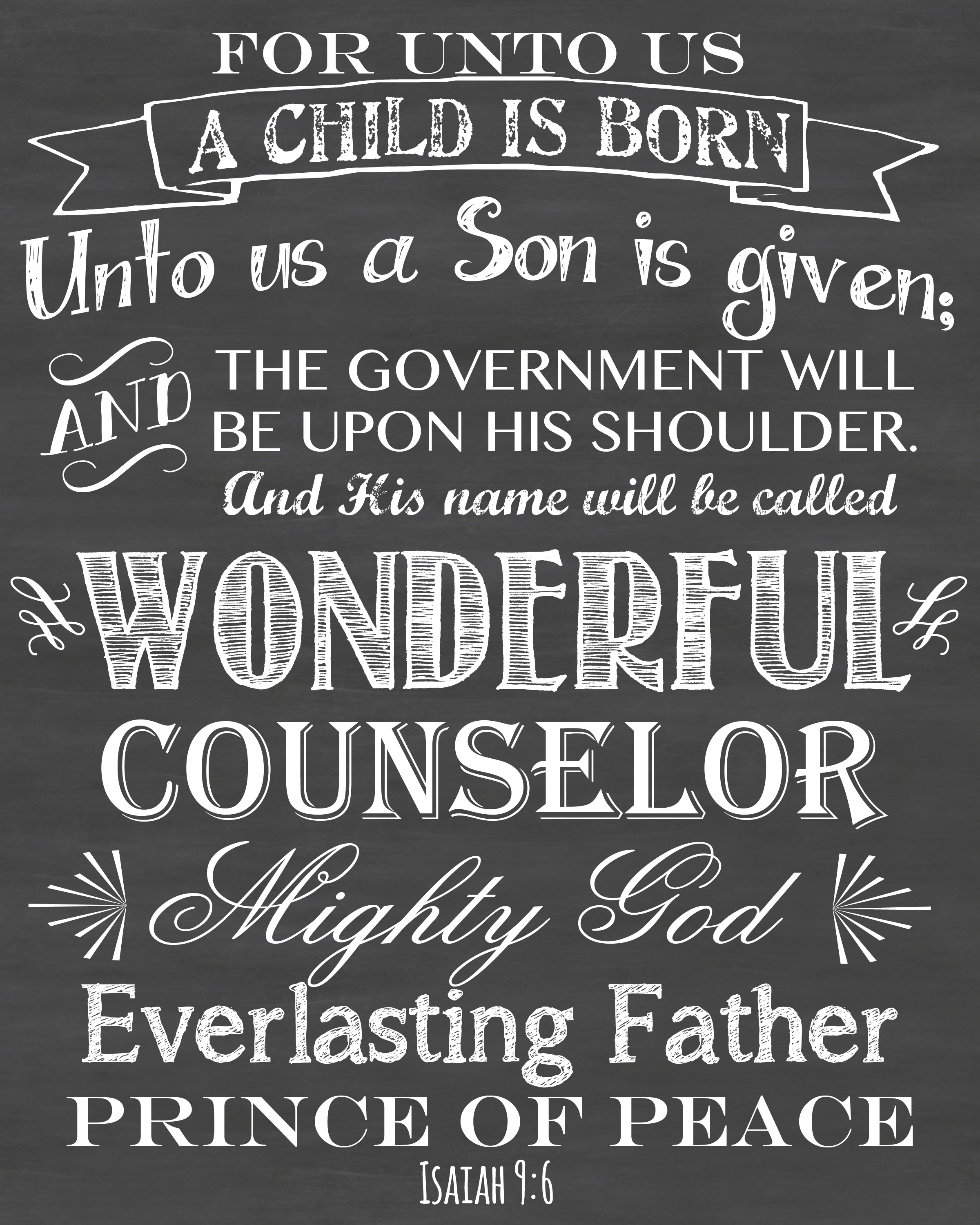 One of my all time favorite Christmas Bible Verses! For Unto Us A Child