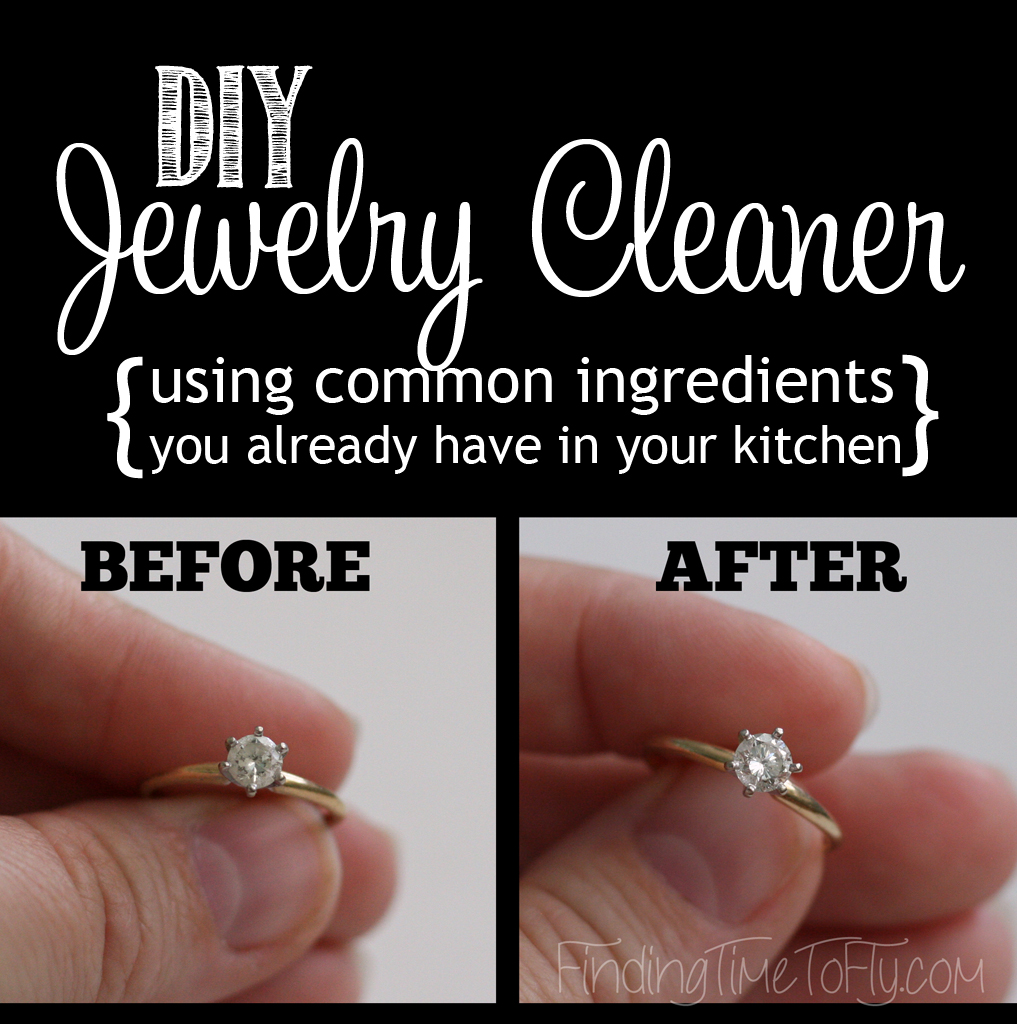 DIY Jewelry Cleaner made with 3 common household ingredients. Dish soap, salt, and baking soda. It really works!