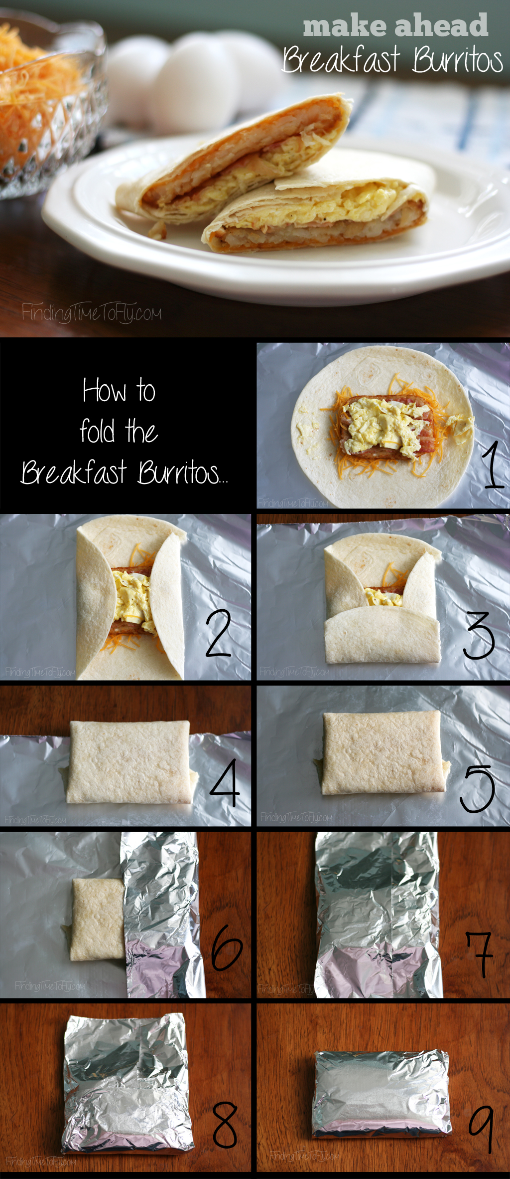 Make Ahead Breakfast Burritos. These would be great for camping, traveling, vacation, or just to keep in the freezer for busy mornings.