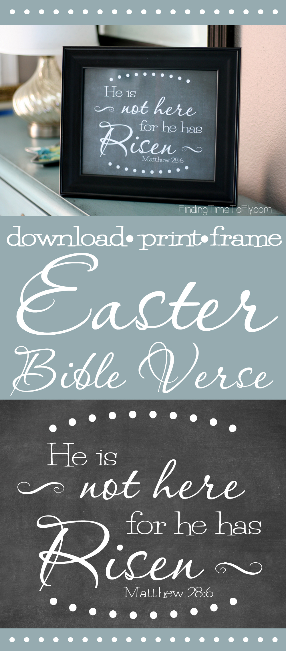 Love this printable Bible verse for Easter! He is not here for he has risen. Matthew 28:6