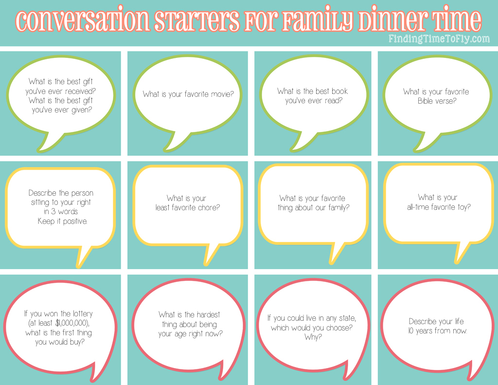 50 conversation starters for family dinner time finding time to fly Family Members