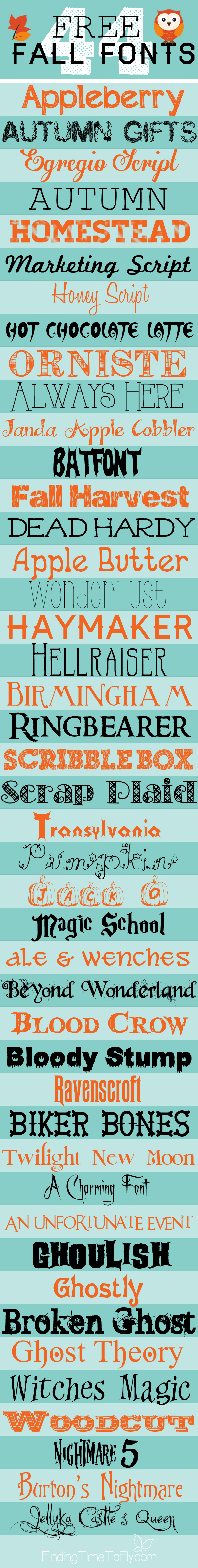 Wow! So many free fall fonts! There's even a printable reference sheet you can print.
