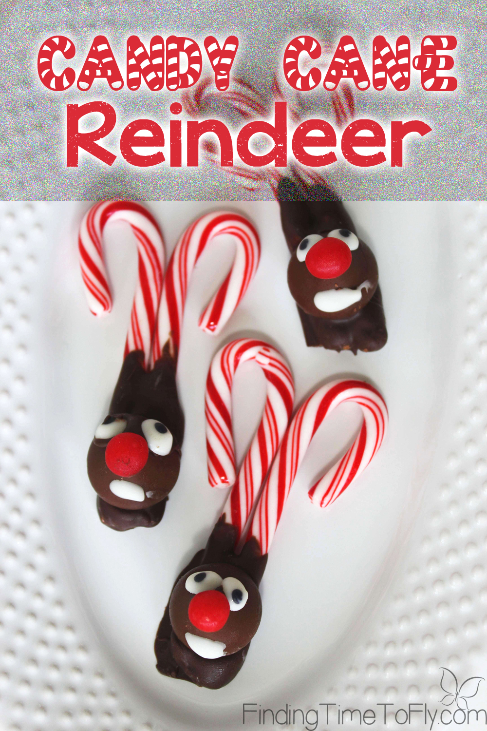 Super simple instructions for how to make a candy cane reindeer. I love that there is no cooking!