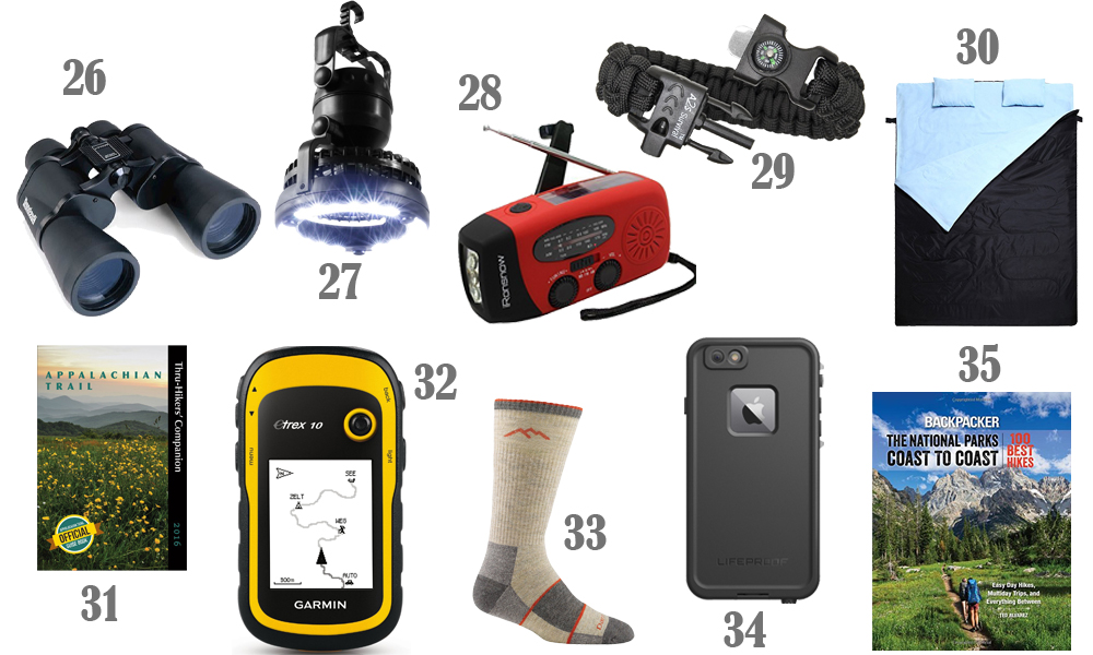 These are great gift ideas for the outdoorsman who loves to camp and hike!