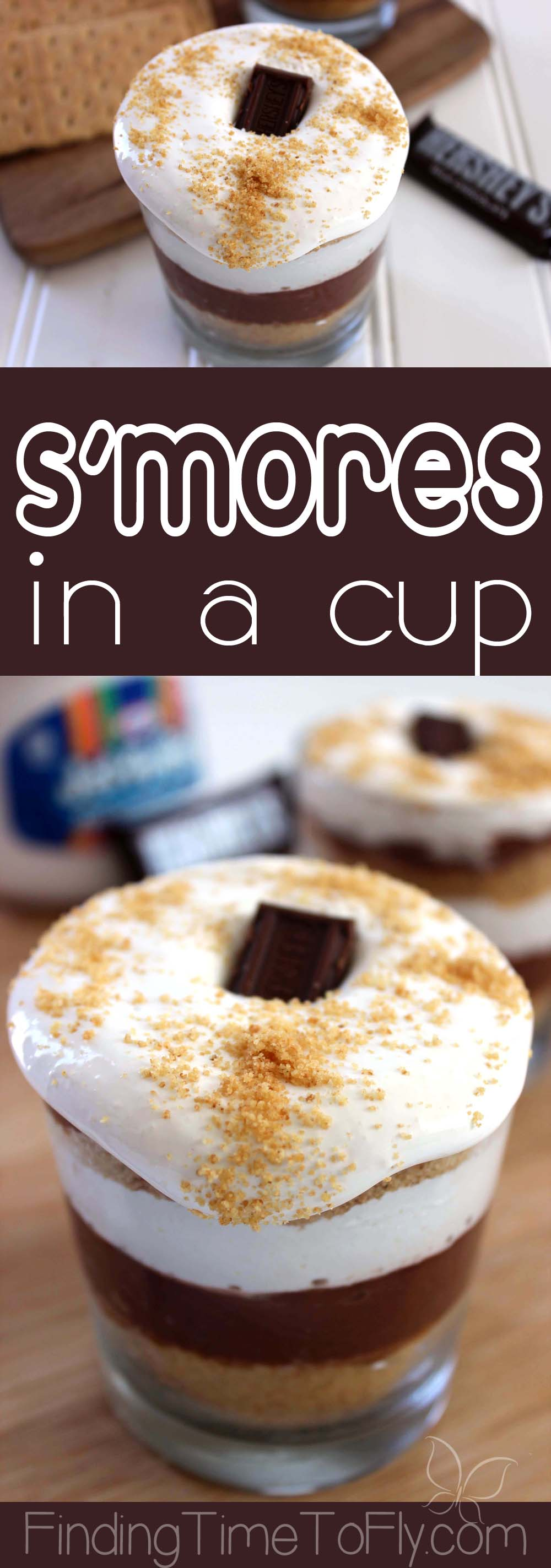 This dressed up S'mores in a cup is so easy! The kids will love this dessert. Saving this.