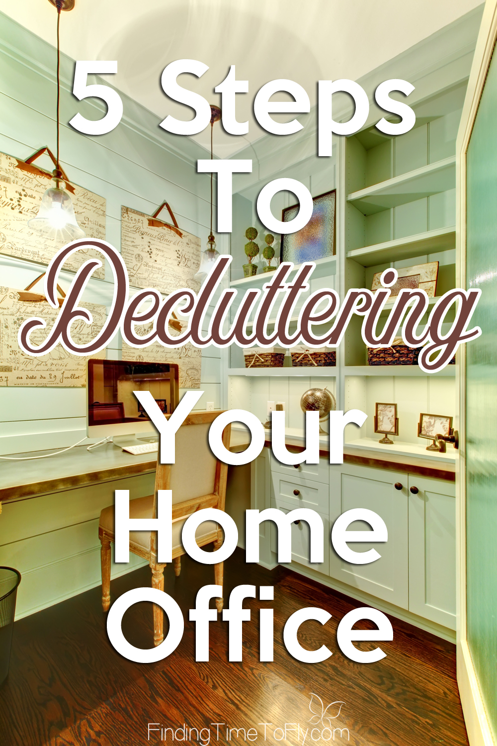 These 5 steps to decluttering your home office are habits I need to learn. I know I could be more productive in an organized work space.