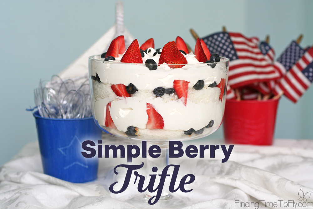 This Simple Berry Trifle is an easy, no bake, make ahead dessert perfect for the 4th of July, Memorial Day or any summer gathering. It's a Patriotic Trifle Dessert!