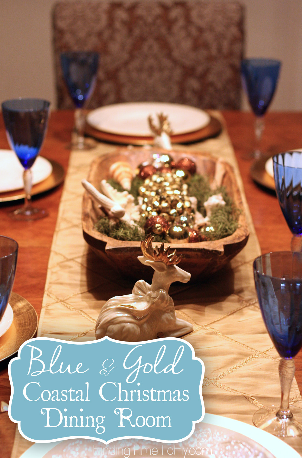Blue and Gold Coastal Christmas Dining Room