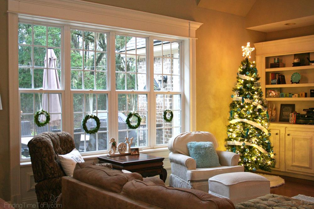 Blue and White Coastal Christmas Living Room