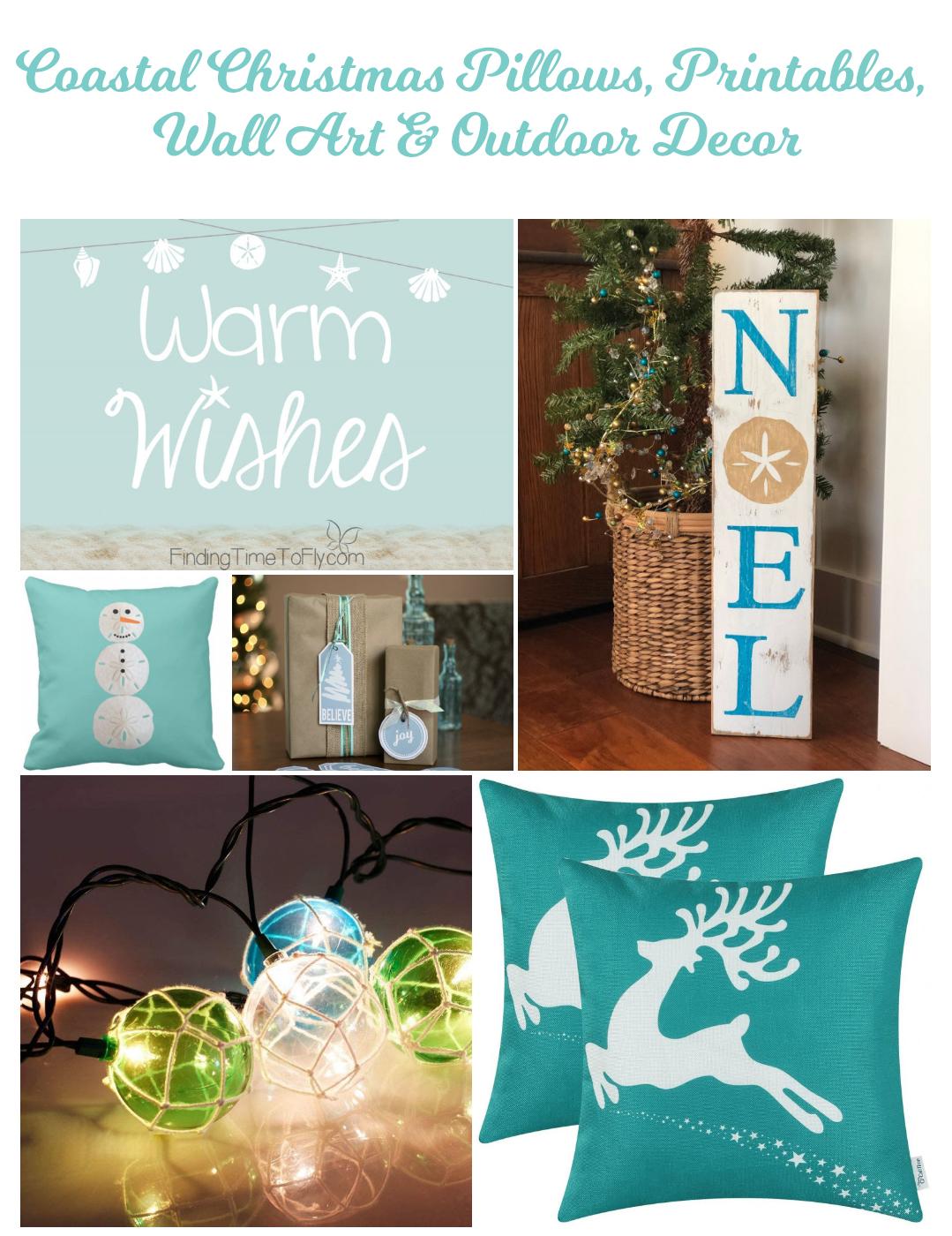 100 Coastal Christmas Decor Ideas - Wall Art Printables Pillows Outdoor