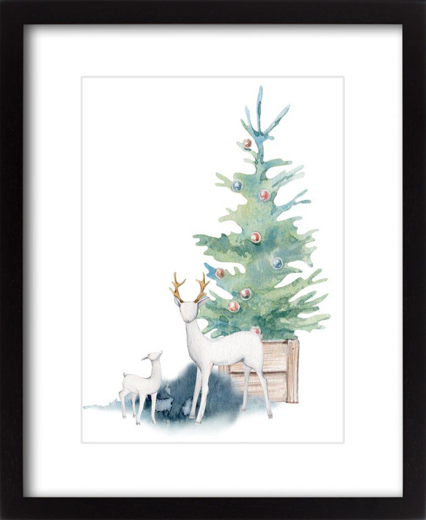 Blue Christmas Woodland Deer #3