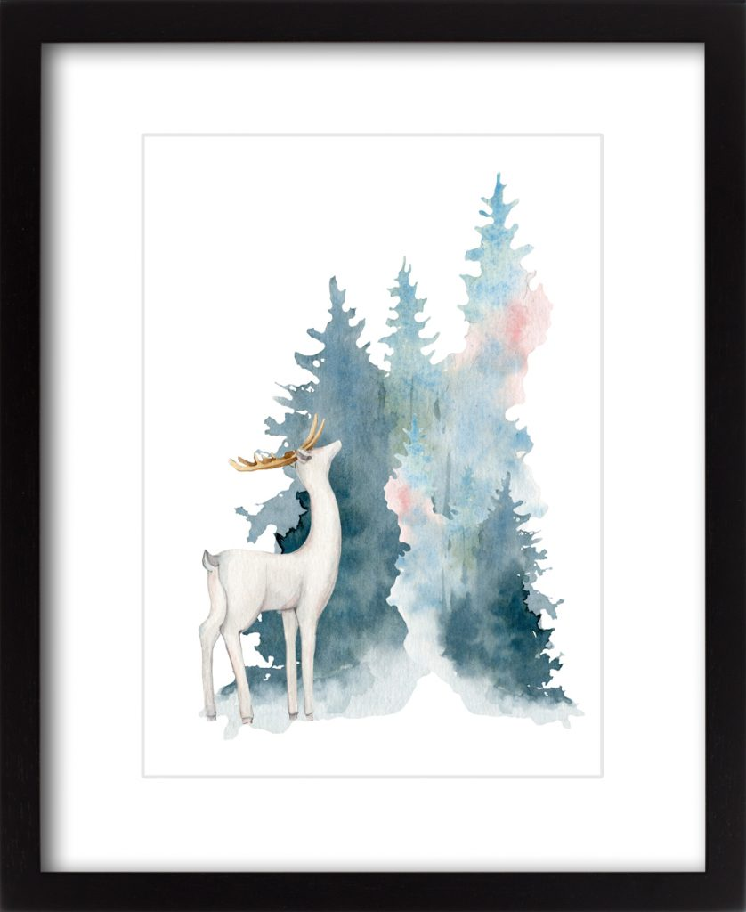 Blue Christmas Woodland Deer #2