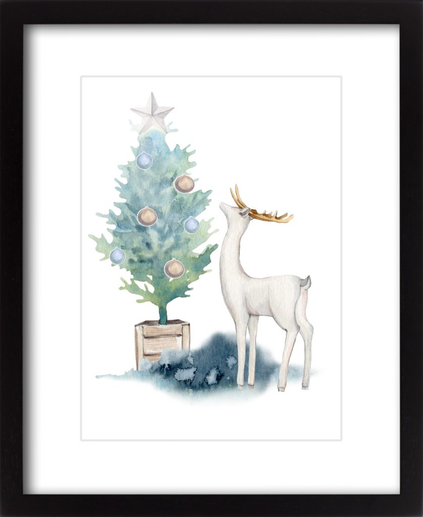 Blue Christmas Woodland Deer #1
