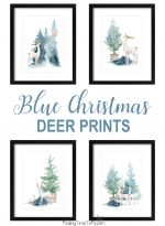 Blue Christmas Woodland Deer Prints