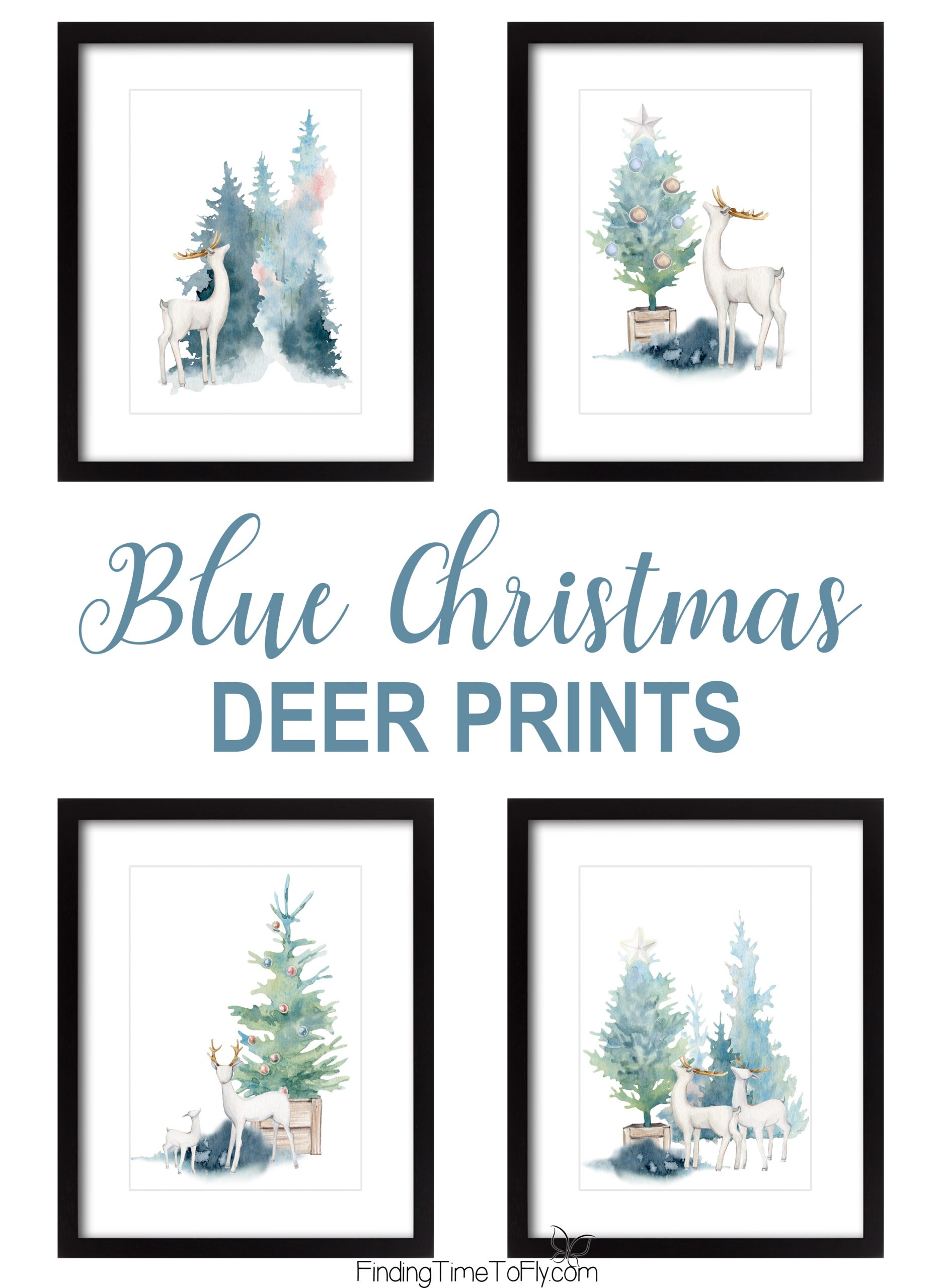 Blue Christmas Woodland Deer Prints